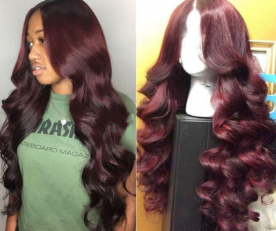 99J hair color Body wave Custom hand sewn wig, lace frontal wig, Burgundy hair color