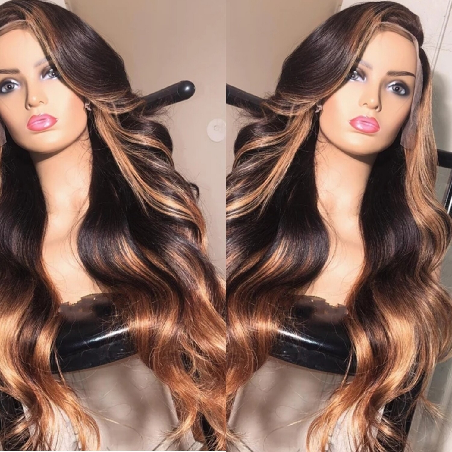 Blonde highlights with blonde ombre wig, Custom Body wave Handmade  13x4 Lace Frontal wig