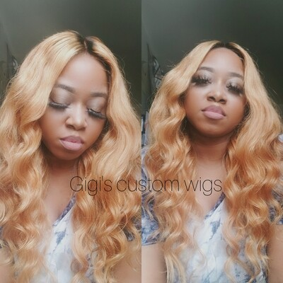 Honey Blonde Dark Roots custom wig