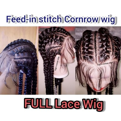 Grey ombre stitch feed-in braided wig 28 inches