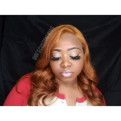 Dark strawberry blonde custom color Full Lace Wig 16 inches