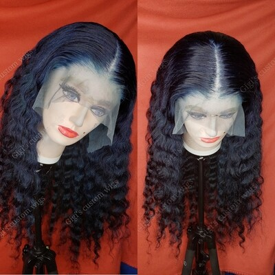 Deep wave Custom color midnight Blue wig