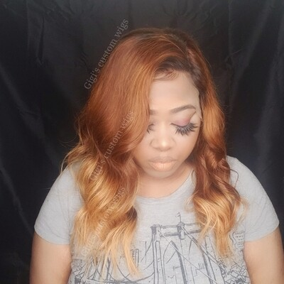 Strawberry blonde with honey blonde ombre highlights