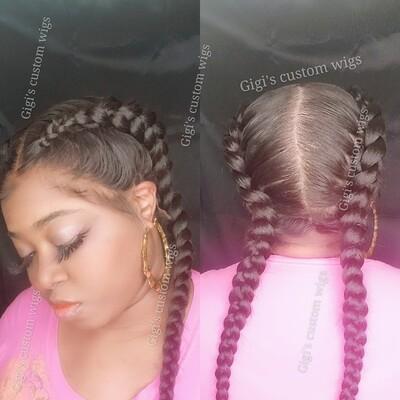 French braids full lace custom wig