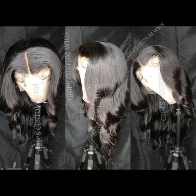 Jet Black Body Wave custom 13x4 lace frontal wig