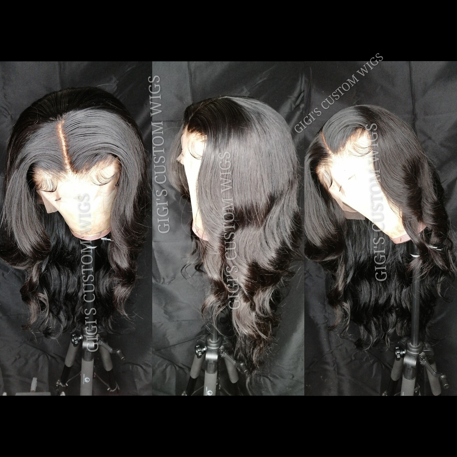 Jet Black Body Wave custom 13x4 lace frontal wig