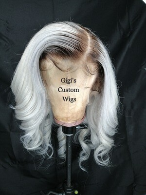 Body  wave Grey  rooted Full Lace Wig