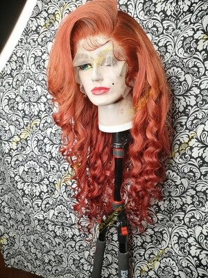 13x6 frontal custom wig, Body Wave hair, Red Ginger color