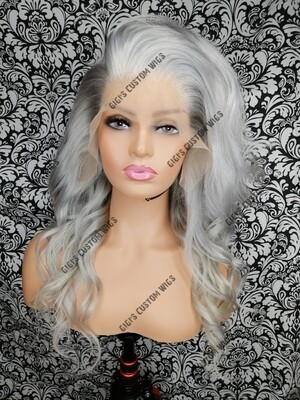 Grey silver lace frontal custom made wig