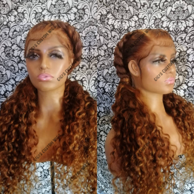 Full Lace Dutch braids with curly ends
