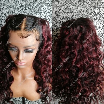 13x4 Burgundy loose wave with two braids
