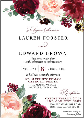 Deep Red and Blush Floral Invitation