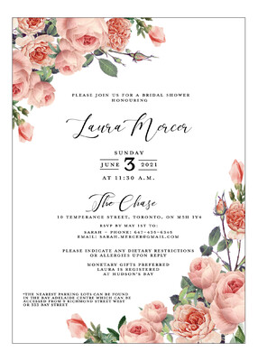 English Garden Floral Bridal Shower Invitation