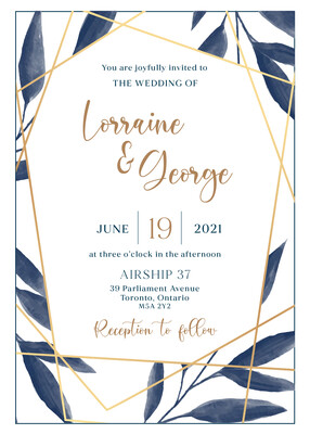 Geometric Blue and Gold Watercolour Invitation