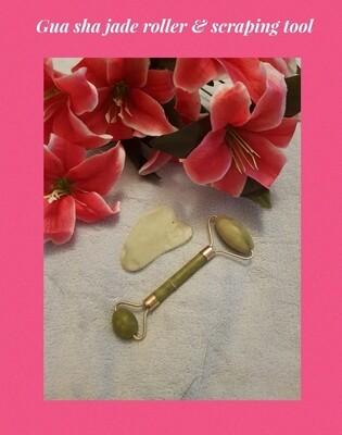 Jade crystal, facial roller & gua sha massage therapy scraping stone