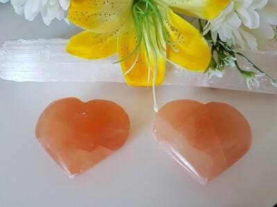 Selenite orange crystal heart (large)