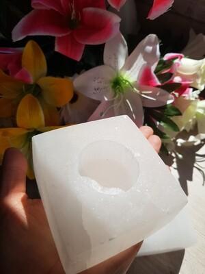 Selenite square tealight holders