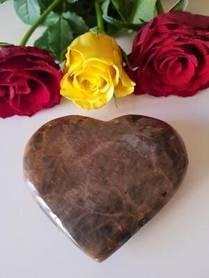 Black moonstone large crystal  heart