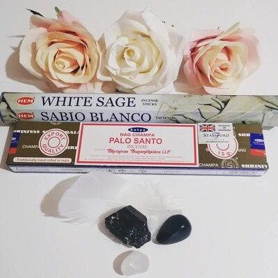 Ultimate protection & cleansing incense & crystal set