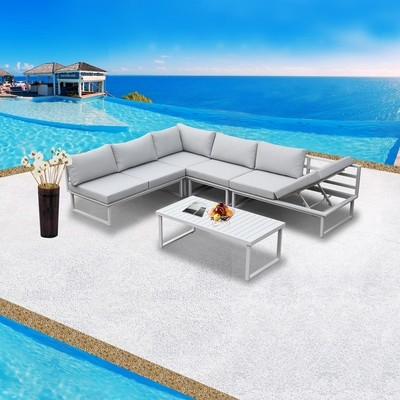 Aluminum 5 Pieces Outdoor Sectional Set Modular Sofa