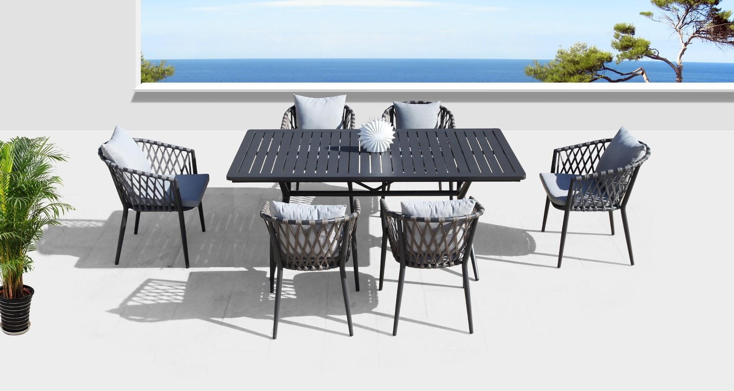 7-Piece Commercial-Grade Patio Dining Set with 6 Rope Woven Dining Chairs and a Square Slat-Top Table