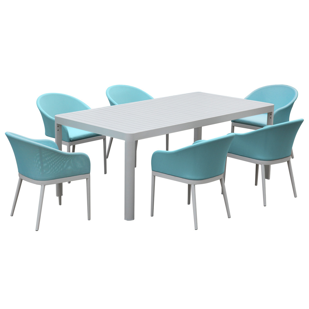 7 Pcs Outdoor Dining Set Chair Table Aluminum