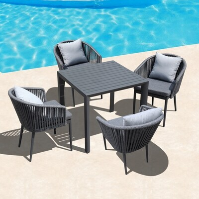 Commercial contract aluminum patio dining table and chair sets for restaurant hotel designer