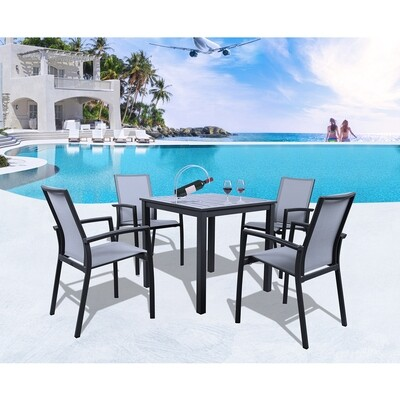 5 Pieces Full Aluminum Table Sling Seat Back Chair Outdoor Patio Dining Set for Garden