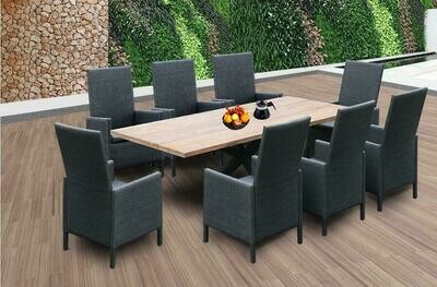 9 Pcs Outdoor Dining Set Modern