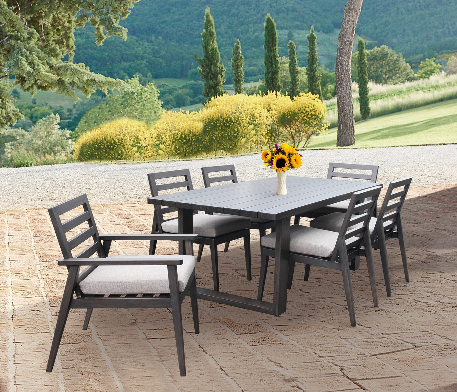 7-Piece Outdoor Patio Table and Chairs Dining Set
