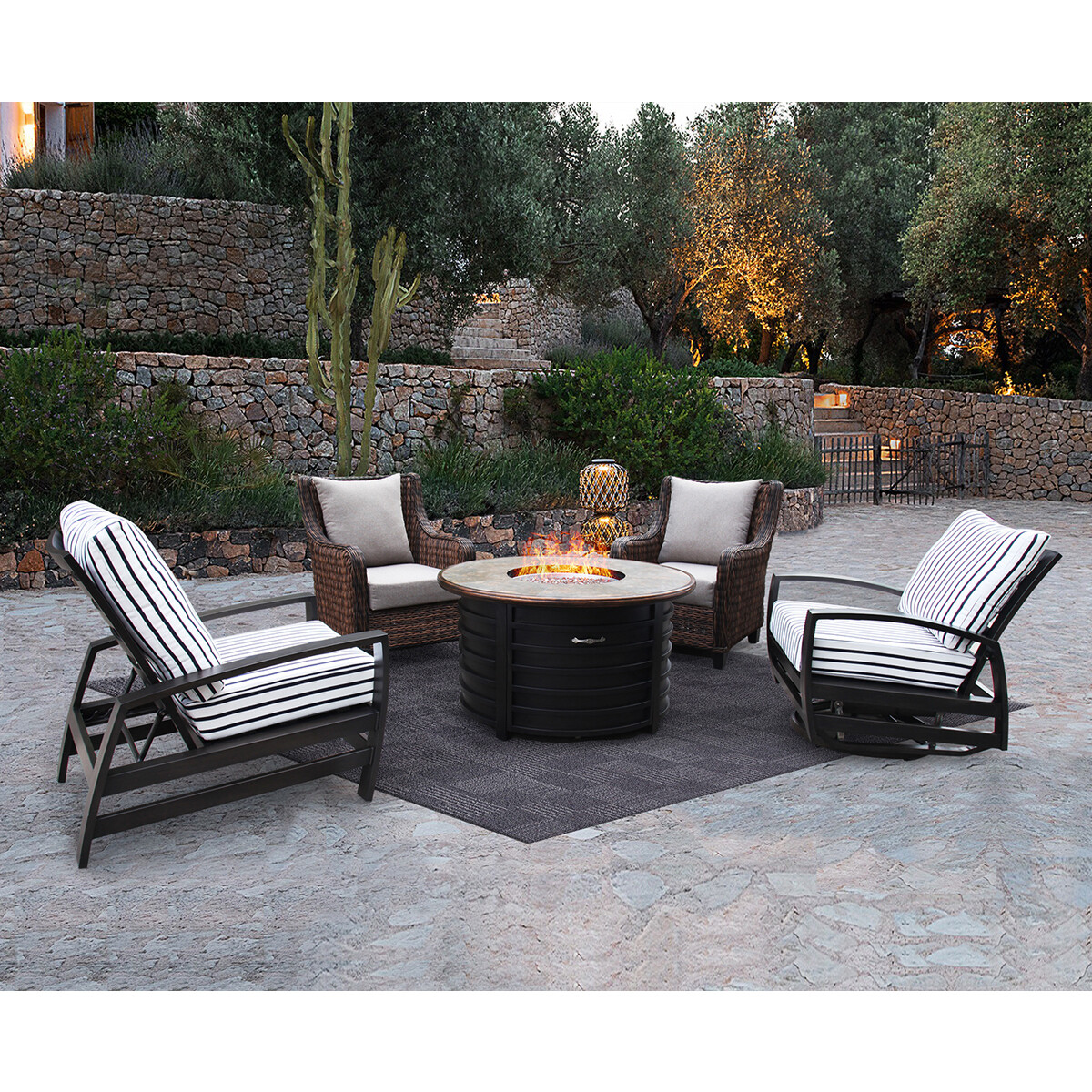 5 Piece Patio Conversation Set with Fire Pit