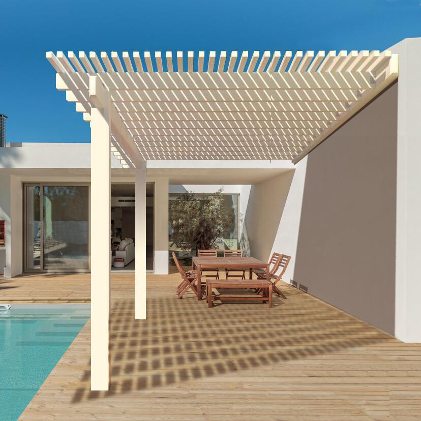 White Aluminum Attached Open Pergola with 3 Posts Maximum Roof