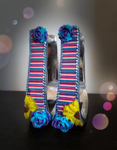 Serape w/ 3D Sunflowers and Blue Roses