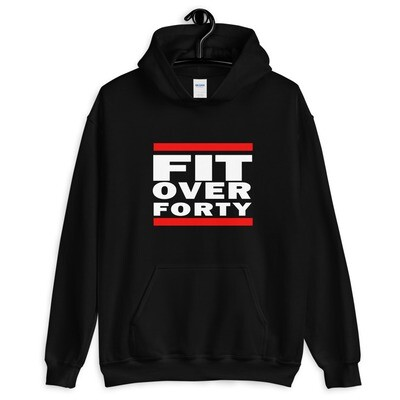 WHITE LOGO FIT OVER FORTY Unisex Hoodie