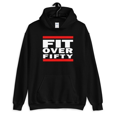 WHITE LOGO FIT OVER FIFTY Unisex Hoodie
