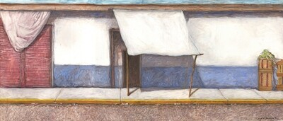 Banqueta en Azul y Blanco #25