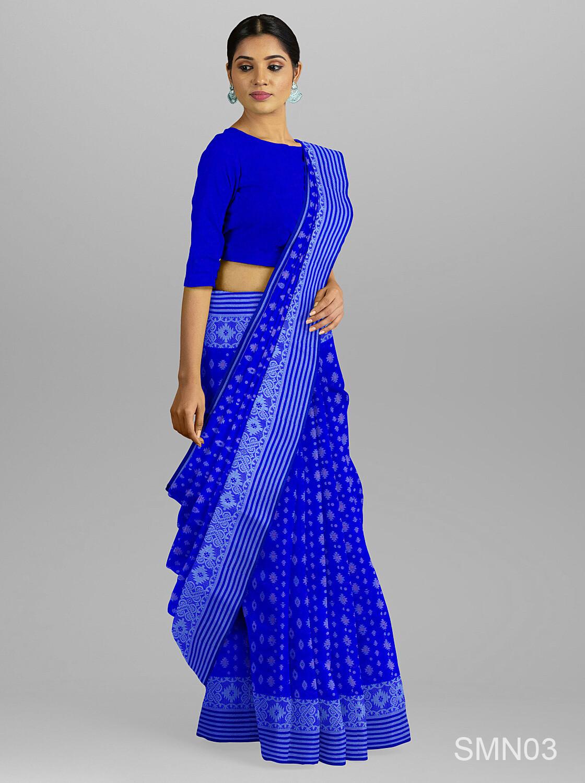 নীল চেক পাইর জামদানি শাড়ী