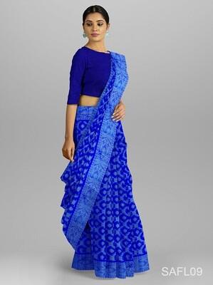 নীল ক্রসিং ফুল জামদানি শাড়ি