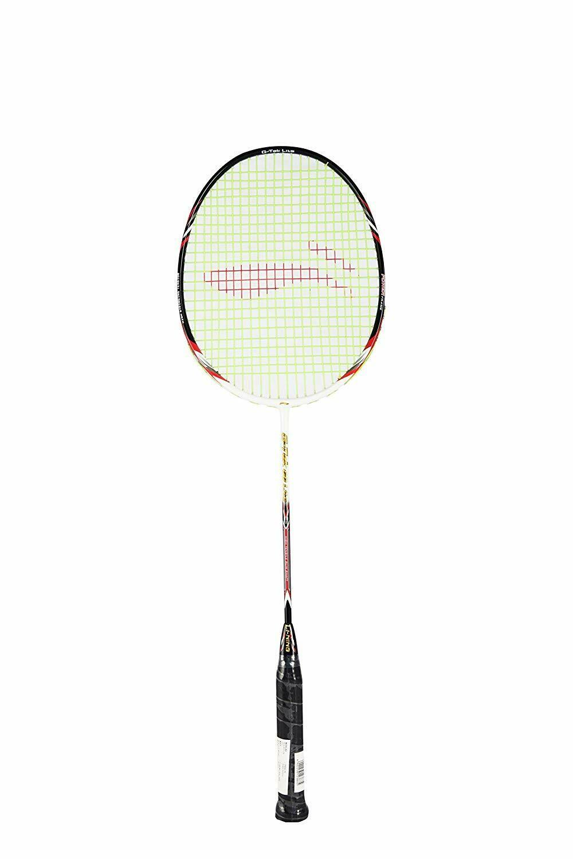 LI-NING G-Tek 68 Lite Badminton Racquet (Strung), S2 Grip Size, (White/Black)