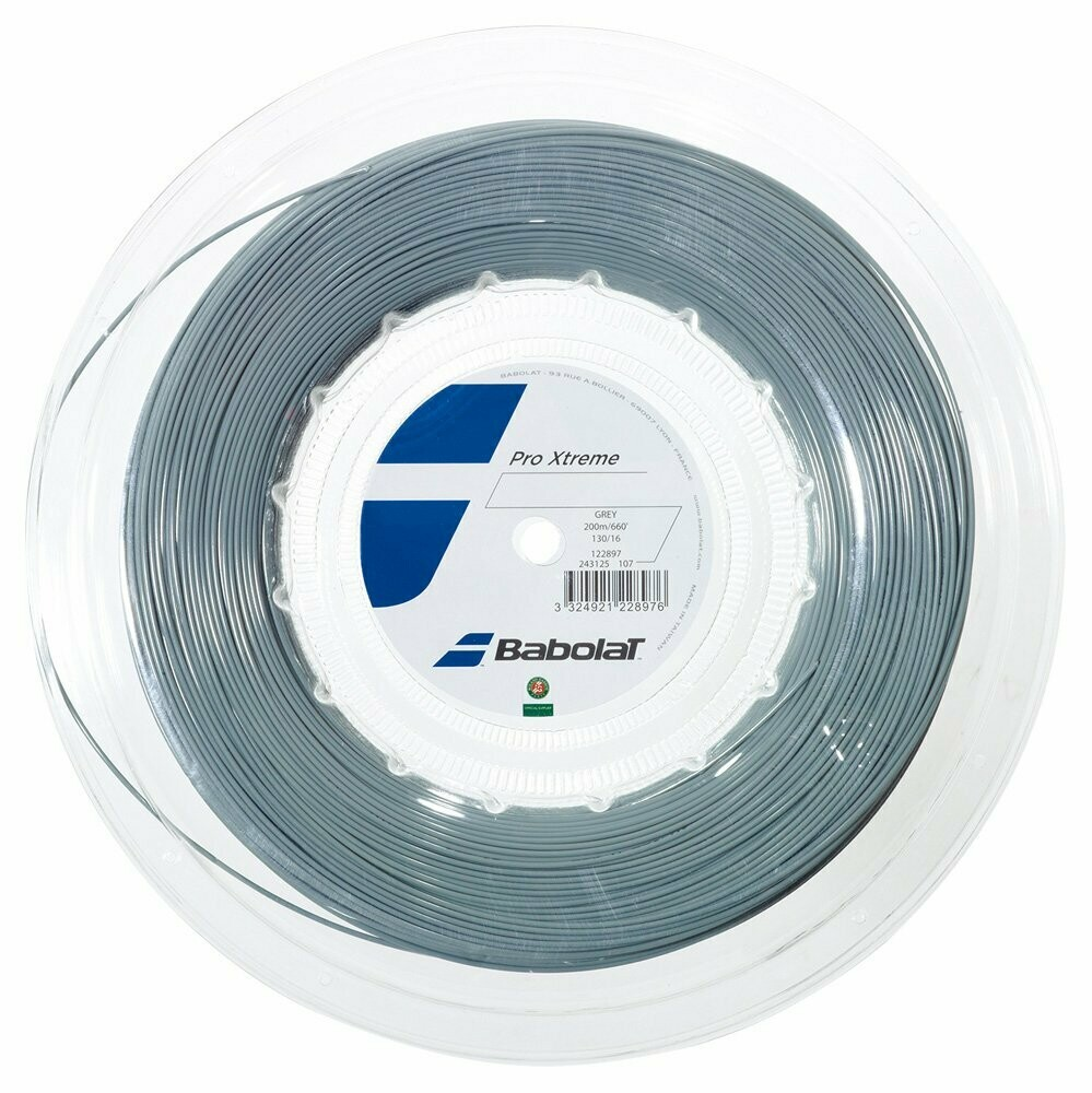 Babolat Pro Extreme 16 Grey 200m/660 feet Tennis String Reel, 1.30/16