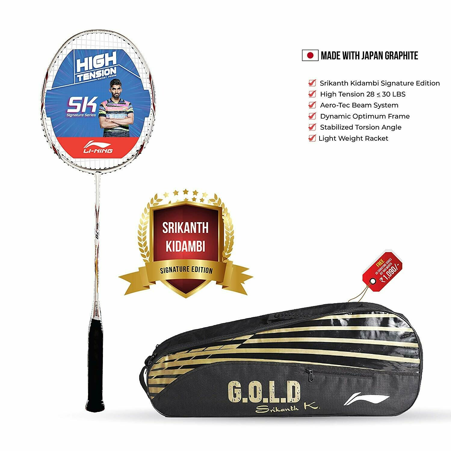 LI-NING SK78 Signature Edition Badminton Racquet With Bag And String