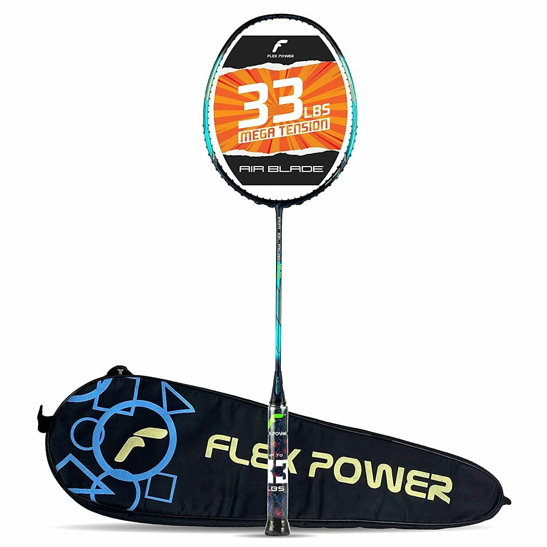Flex Power Air Blade 99 (Mega Tension - 33LBS) Full Graphite Badminton Racquet with Full Racket Cover (Navy Blue, Green)