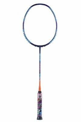 Flex Power Air Speed 10 (Mega Tension - 33LBS) Full Graphite Badminton Racquet with Full Racket Cover Blue/Orange
