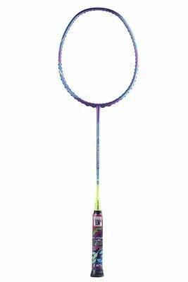 Flex Power Air Speed 10 (Mega Tension - 33LBS)  Full Graphite Badminton Racquet with Full Racket Cover Purple/Neon