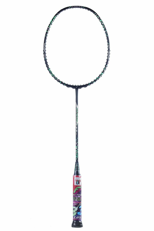 Flex Power Air Speed 11 (Mega Tension - 33LBS) Full Graphite Badminton Racquet with Full Racket Cover Black/Green