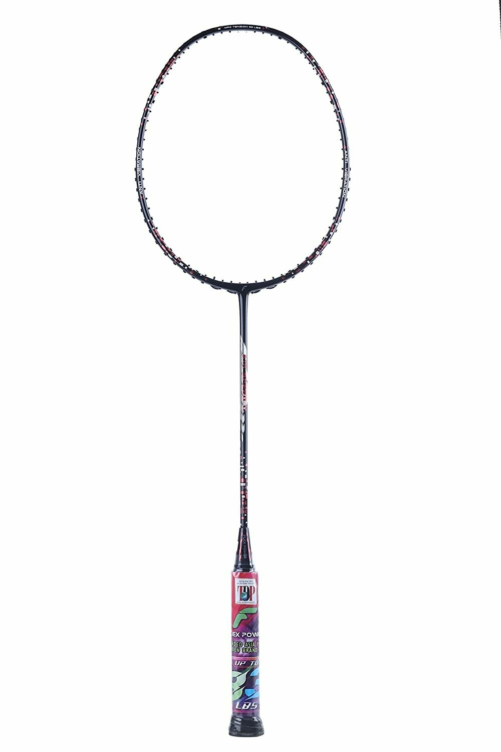 Flex Power Air Speed 11 (Mega Tension - 33LBS)Full Graphite Badminton Racquet with Full Racket Cover Black/Red