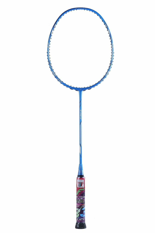 Flex Power Air Speed 12 (Mega Tension - 33LBS) Full Graphite Badminton Racquet with Full Racket Cover Blue