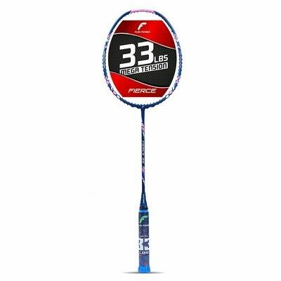 Flex Power Fierce 35 (Mega Tension - 33LBS) Full Graphite Badminton Racquet with Full Racket Cover (Navy Blue, Pink)