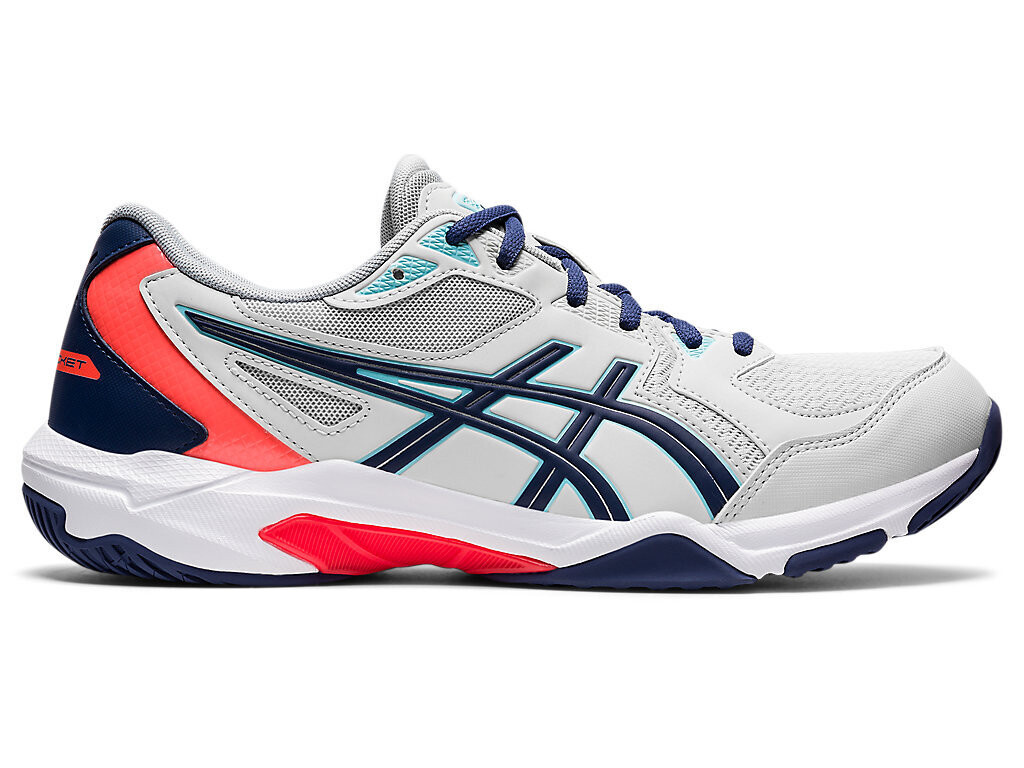 Asics Gel Rocket 10 Badminton Shoes - Glacier Grey/Sunrise Red Non Marking Shoes