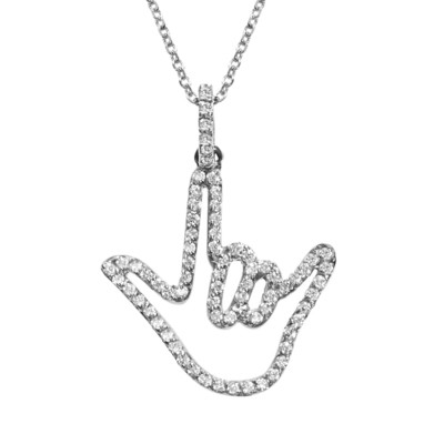 White Solid Gold Love Sign™ Pendant Necklace with Diamonds